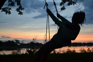 Faith enjoying our first sunset in Mwandi.