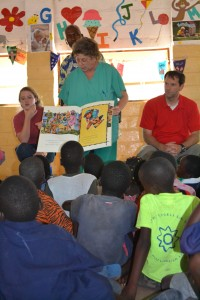 Christi reading to the children at the OVC