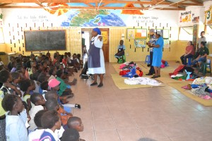 The children at the OVC were so excited to recieve their new clothes from our group.